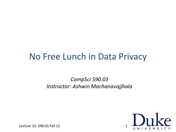 No Free Lunch in Data Privacy