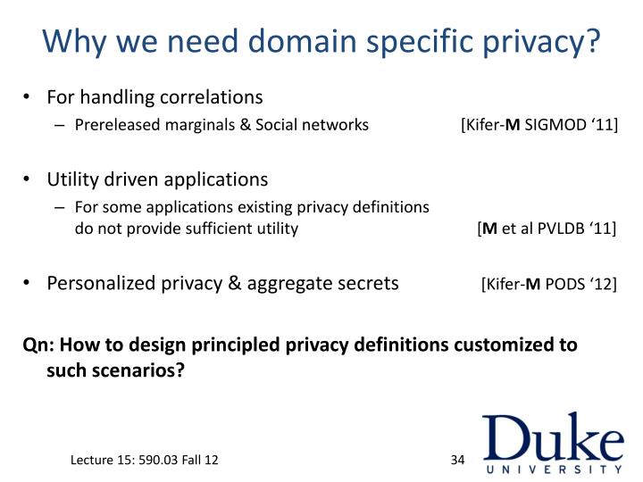 Why we need domain specific privacy?