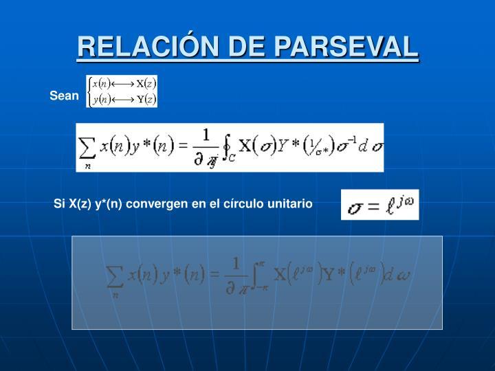RELACIÓN DE PARSEVAL
