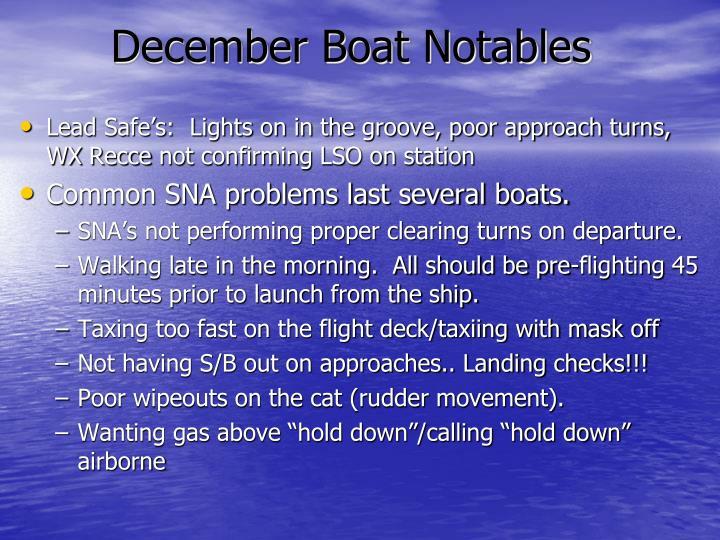 December Boat Notables