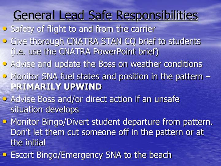 General Lead Safe Responsibilities