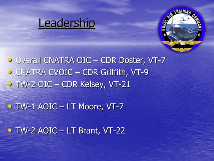 Overall CNATRA OIC – CDR Doster, VT-7