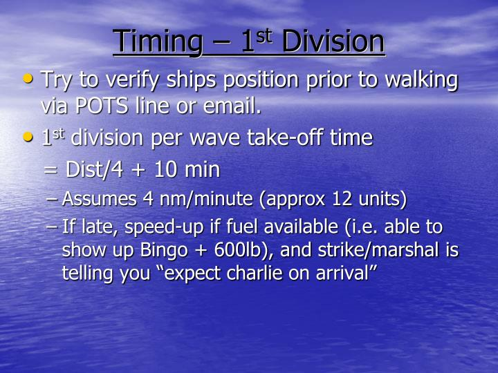 Timing – 1