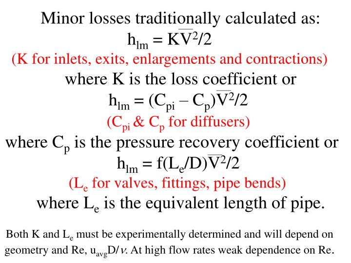 Minor losses traditionally calculated as: