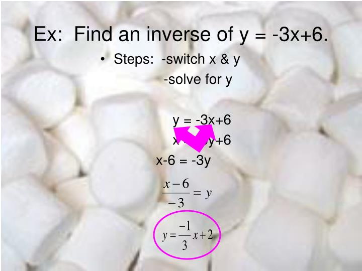 Ex:  Find an inverse of y = -3x+6.