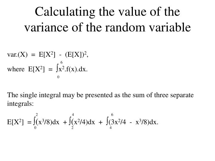 Calculating the value of the variance of the random variable