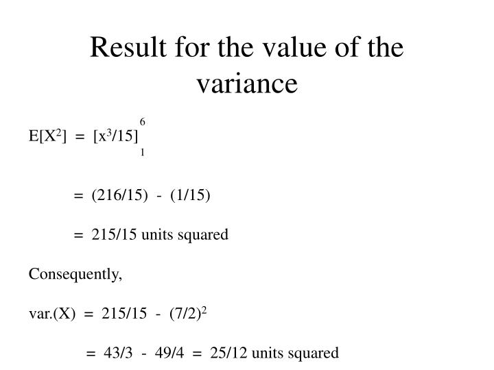 Result for the value of the variance