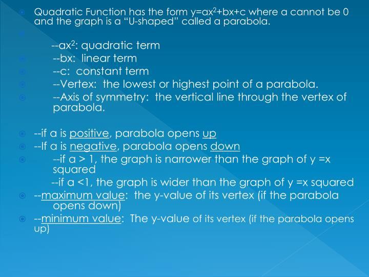 Quadratic Function has the form y=ax