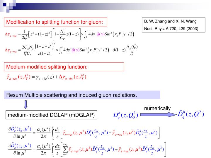 Modification to splitting function for gluon:
