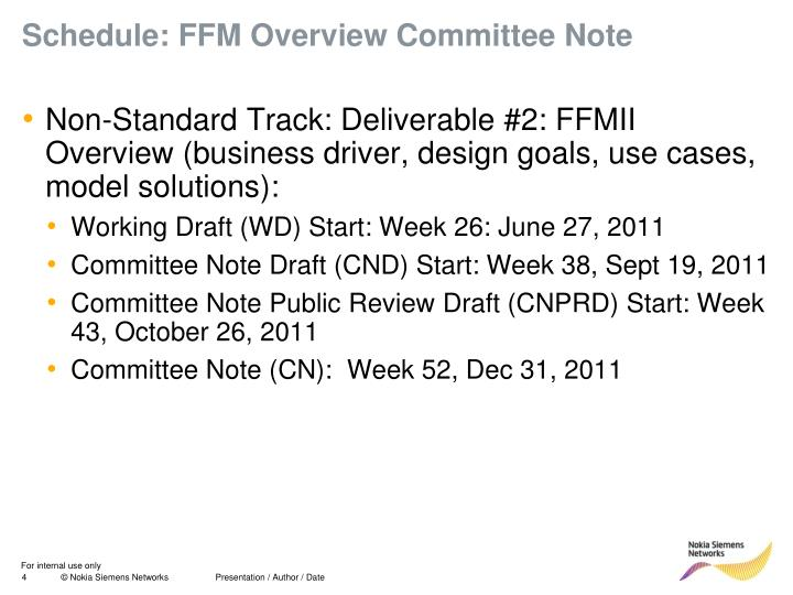 Schedule: FFM Overview Committee Note
