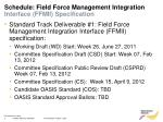schedule field force management integration interface ffmii specification