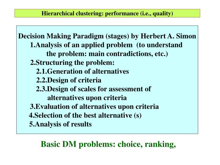 Hierarchical clustering: performance (i.e., quality)