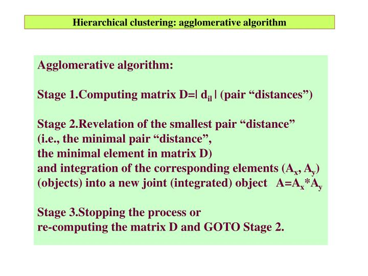 Hierarchical clustering: agglomerative algorithm