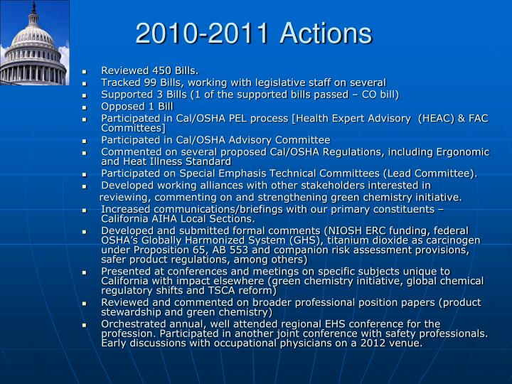 2010-2011 Actions
