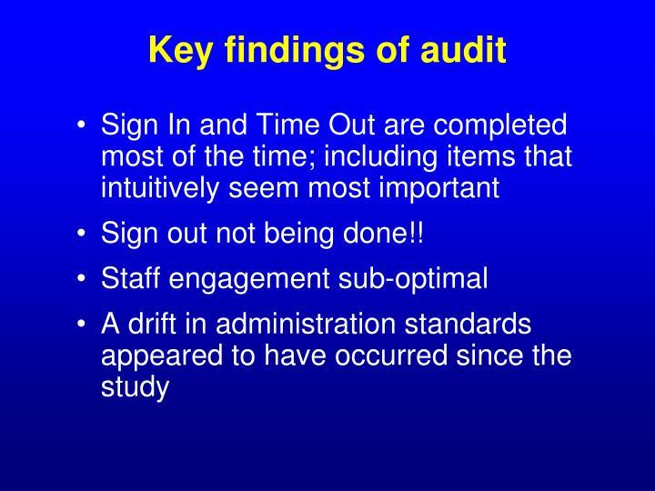 Key findings of audit