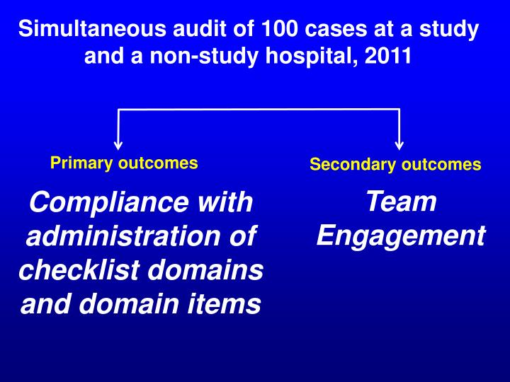Simultaneous audit of 100 cases at a study