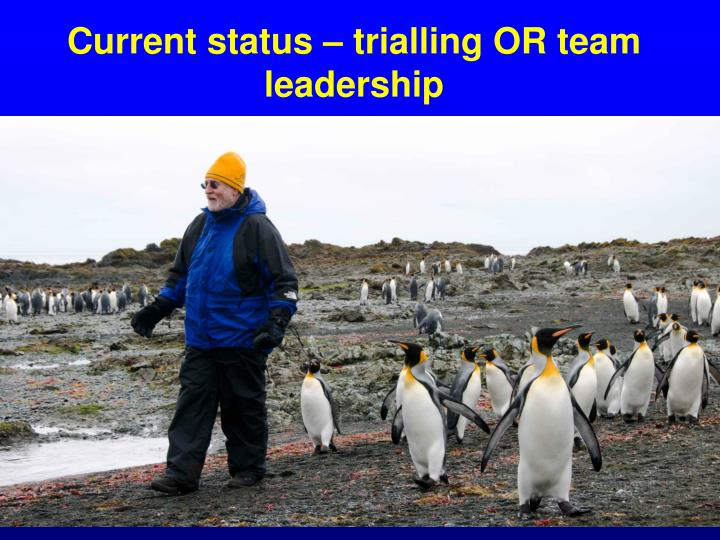 Current status – trialling OR team leadership