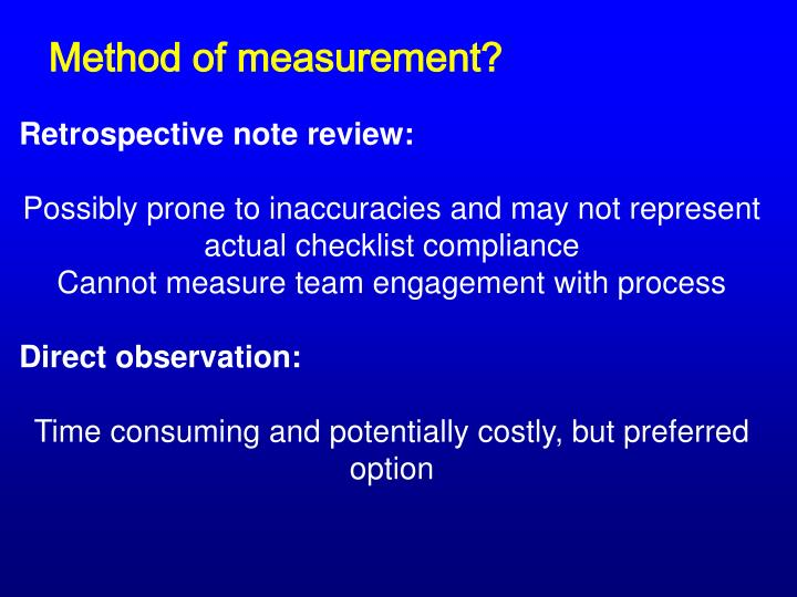 Method of measurement?