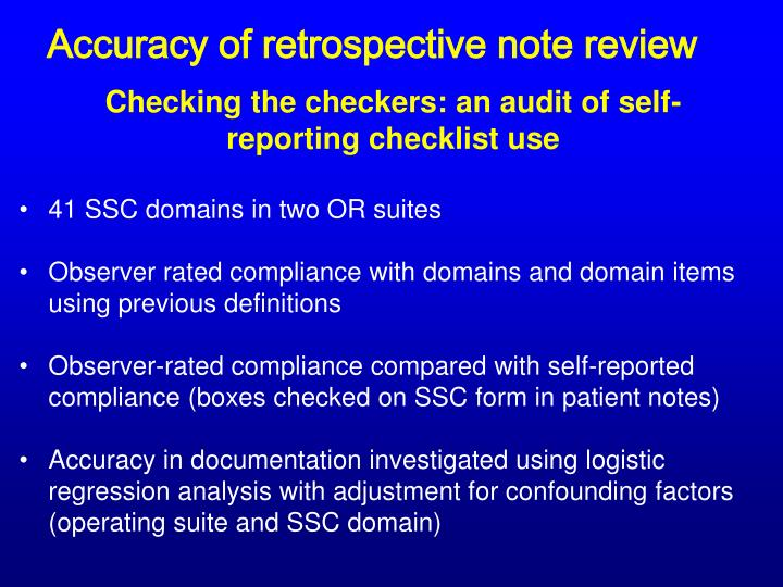 Accuracy of retrospective note review