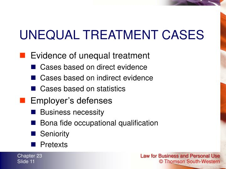 UNEQUAL TREATMENT CASES