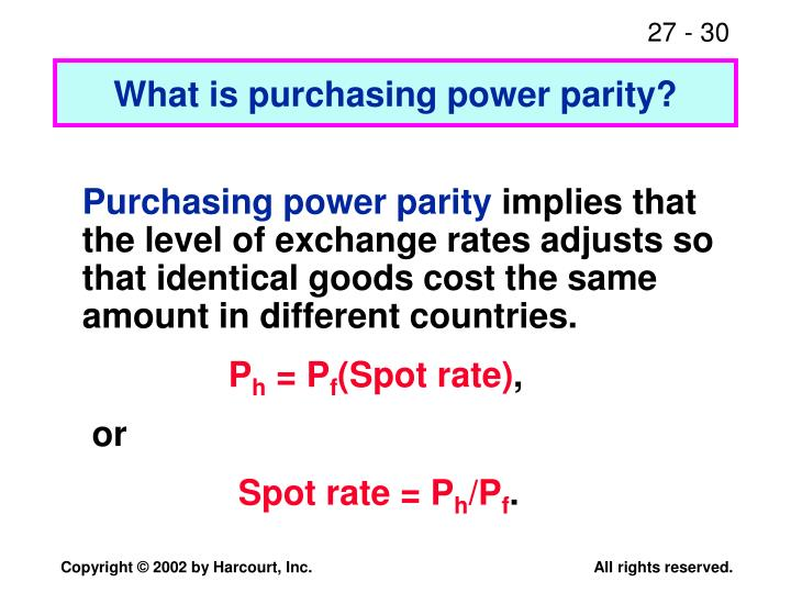 a discussion on purchasing power parity Here's when to use purchasing power parity, official exchange rate or gdp per capita gdp by country is compared by three methods here's when to use purchasing power parity, official 3 ways to compare gdp by country share flip.