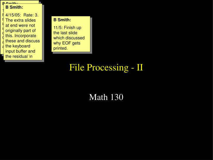 File processing ii