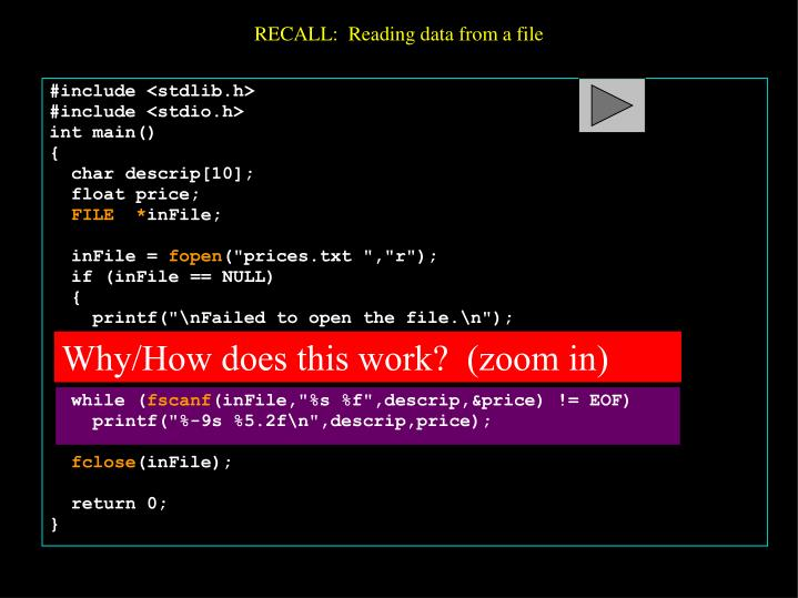 Recall reading data from a file