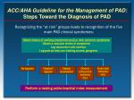 acc aha guideline for the management of pad steps toward the diagnosis of pad