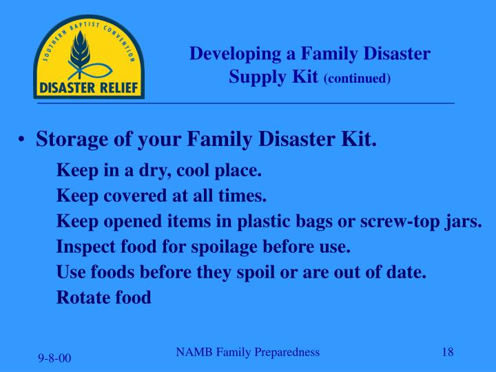 Developing a Family Disaster Supply Kit