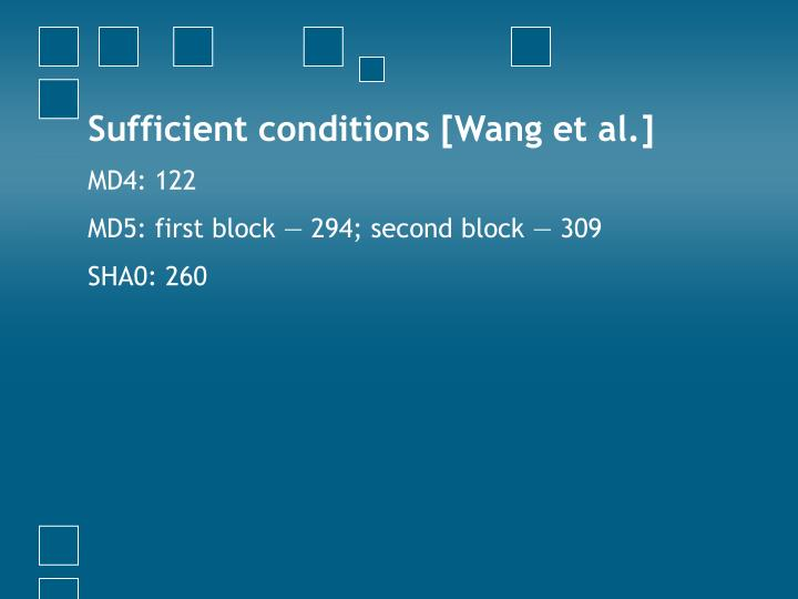 Sufficient conditions [Wang et al.]