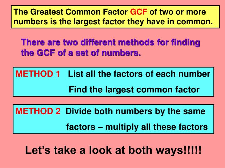 The Greatest Common Factor