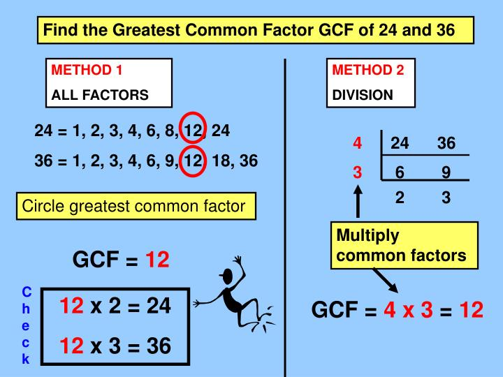 Find the Greatest Common Factor GCF of 24 and 36