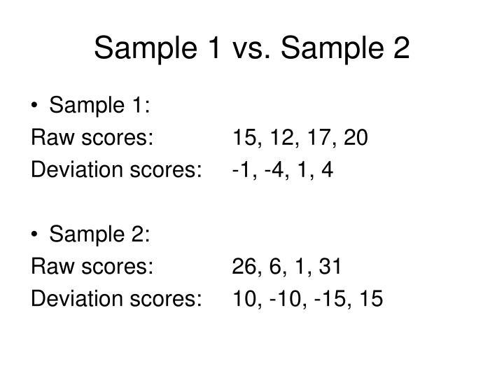 Sample 1 vs. Sample 2