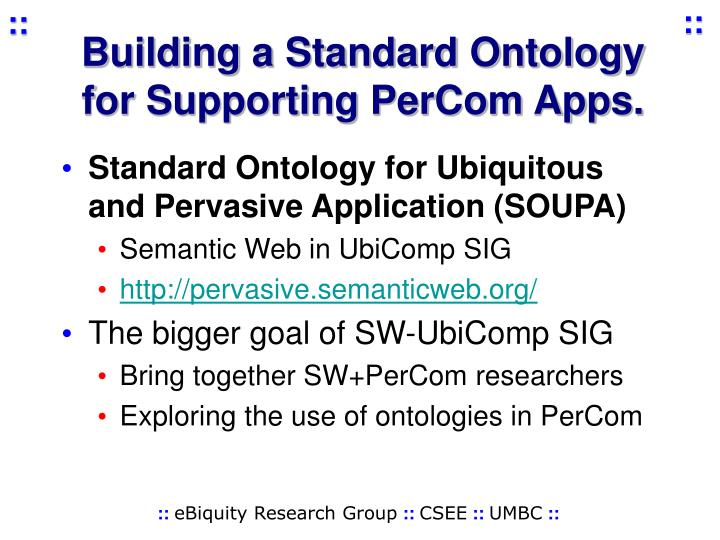 Building a Standard Ontology for Supporting PerCom Apps.