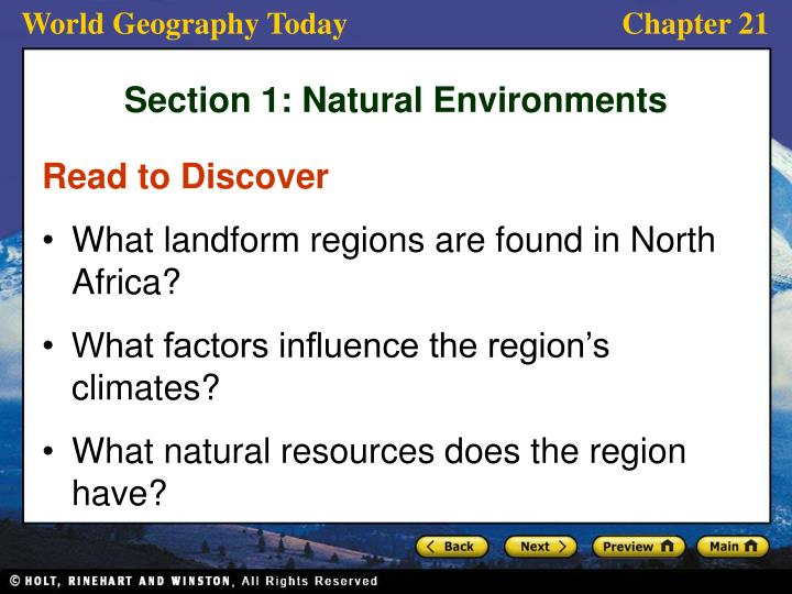 Section 1 natural environments