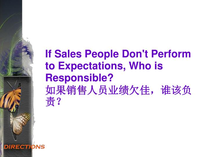 If Sales People Don't Perform to Expectations, Who is Responsible?