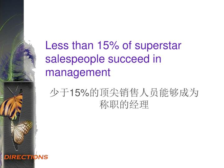 Less than 15% of superstar salespeople succeed in management