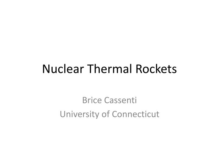 nuclear thermal rockets