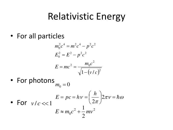 Relativistic Energy