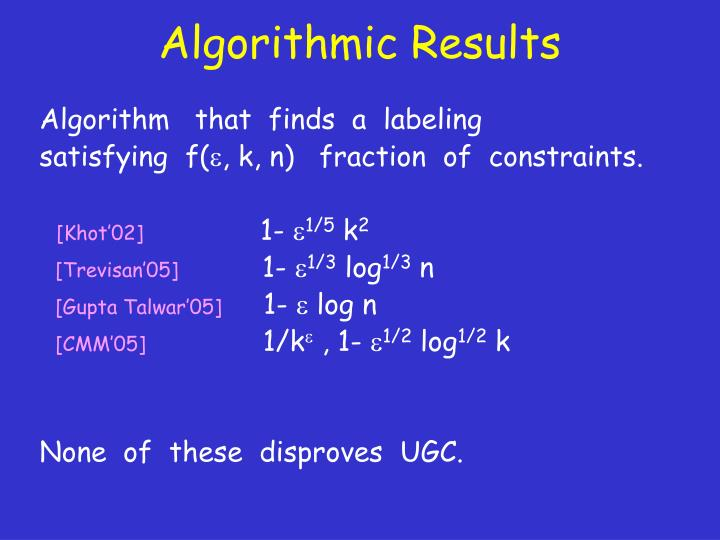 Algorithmic Results