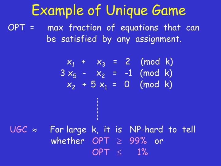 Example of Unique Game