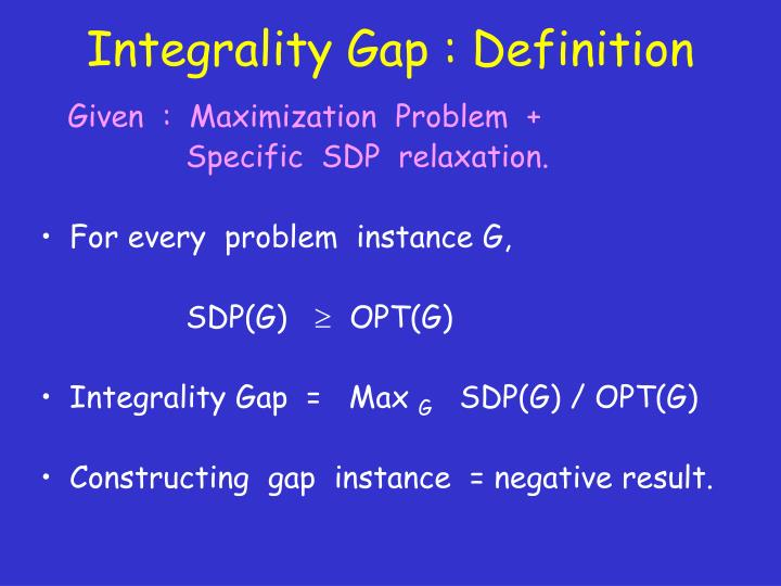 Integrality Gap : Definition
