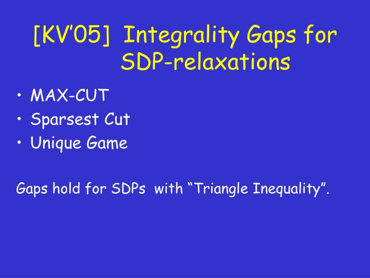 [KV'05]  Integrality Gaps for