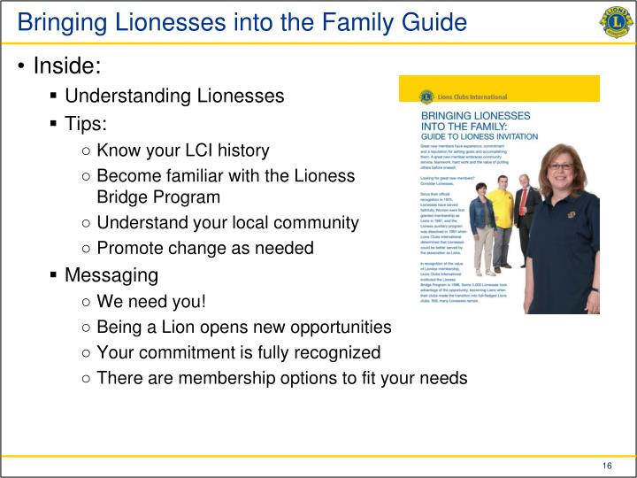 Bringing Lionesses into the Family Guide