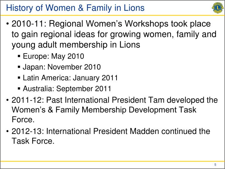 History of Women & Family in Lions