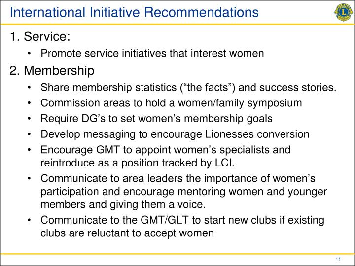 International Initiative Recommendations
