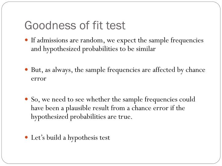 Goodness of fit test