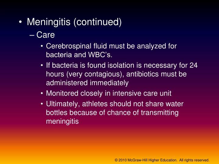 Meningitis (continued)