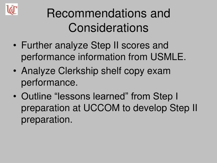 Recommendations and Considerations