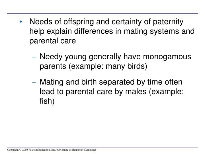 Needs of offspring and certainty of paternity help explain differences in mating systems and parental care